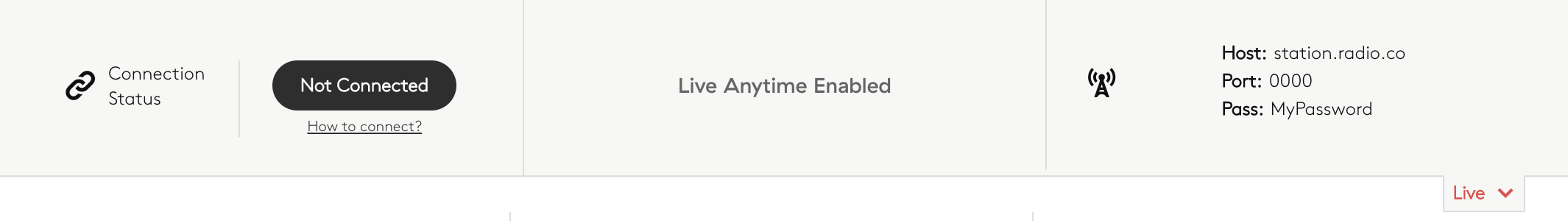 Live anytime enabled.
