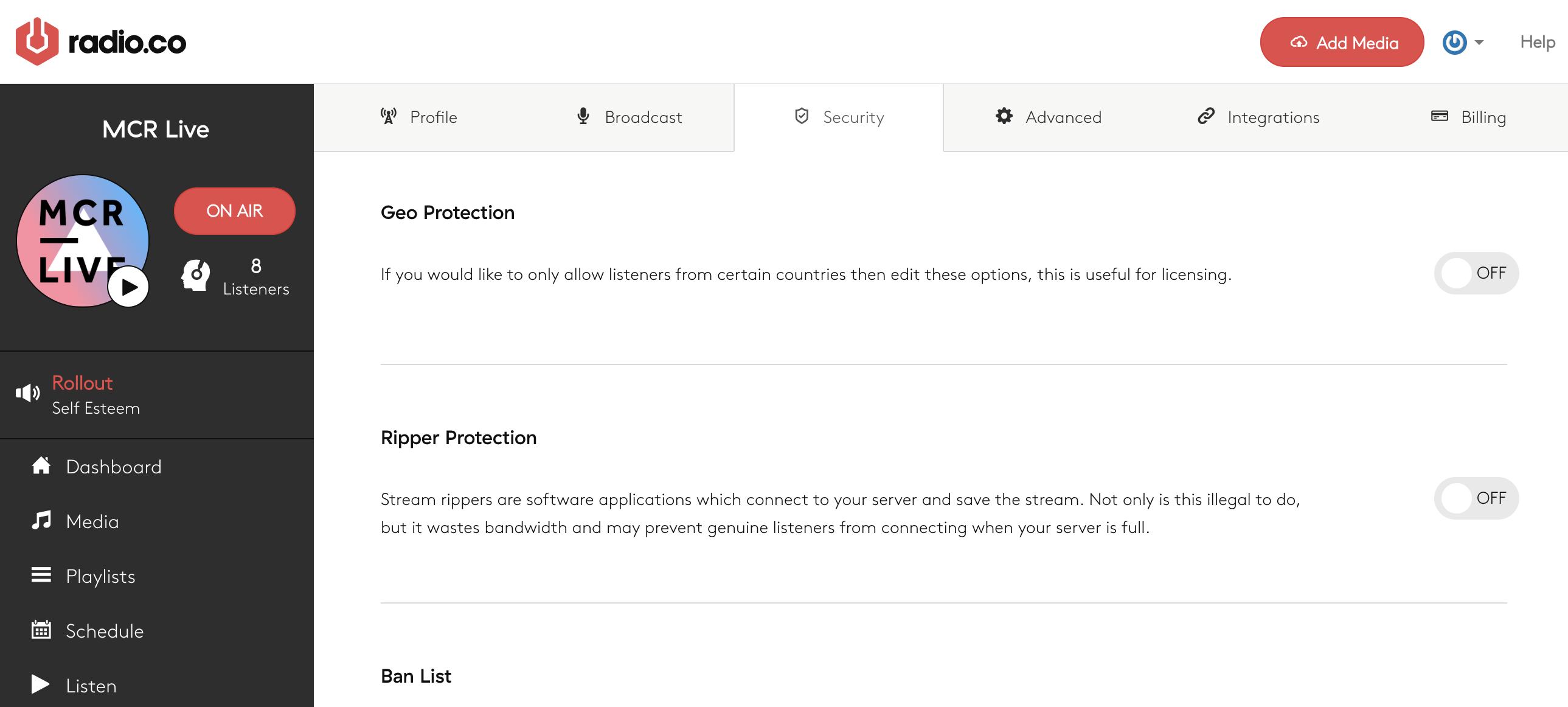 Security settings.