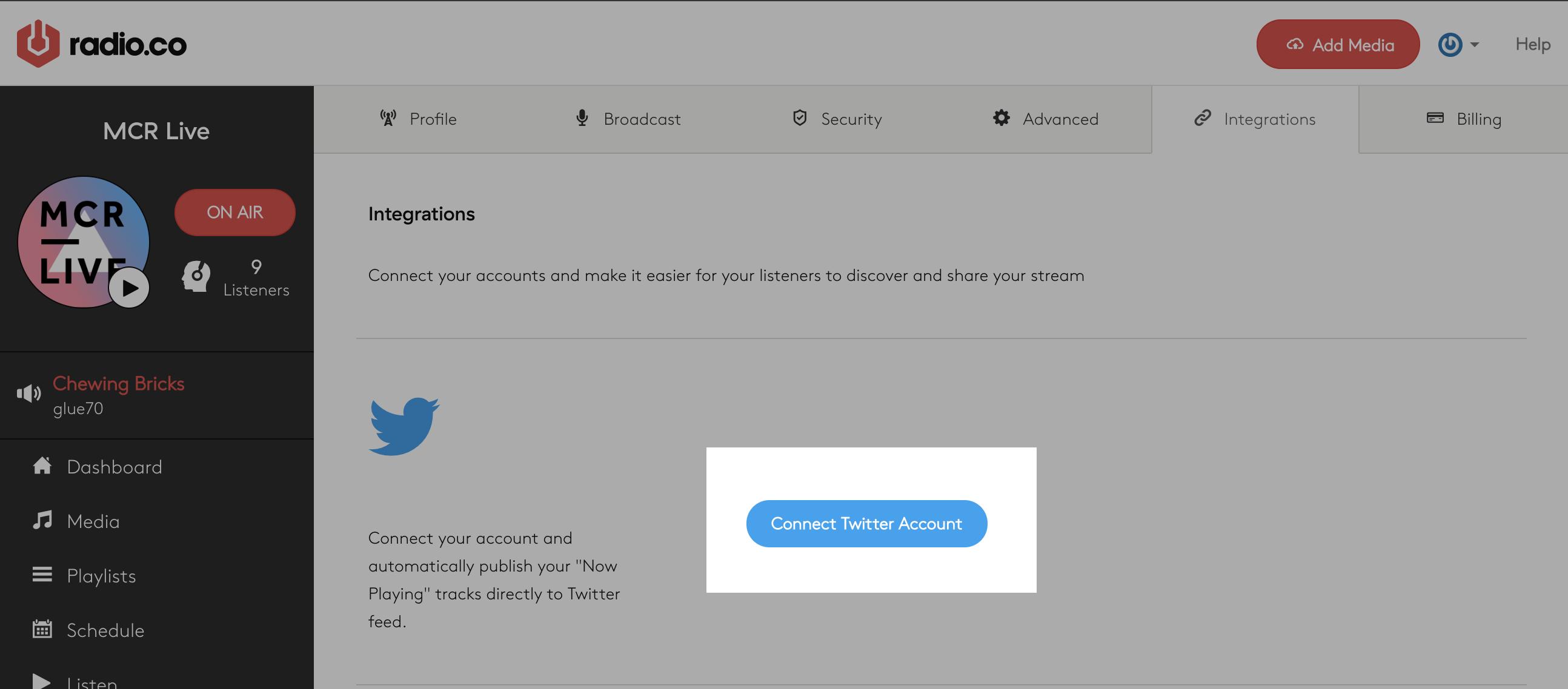 Twitter integration in Radio.co