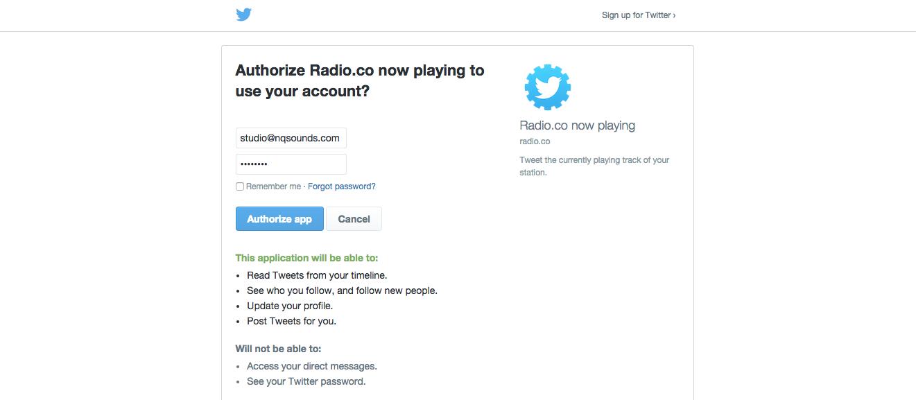 Twitter authorisation tab