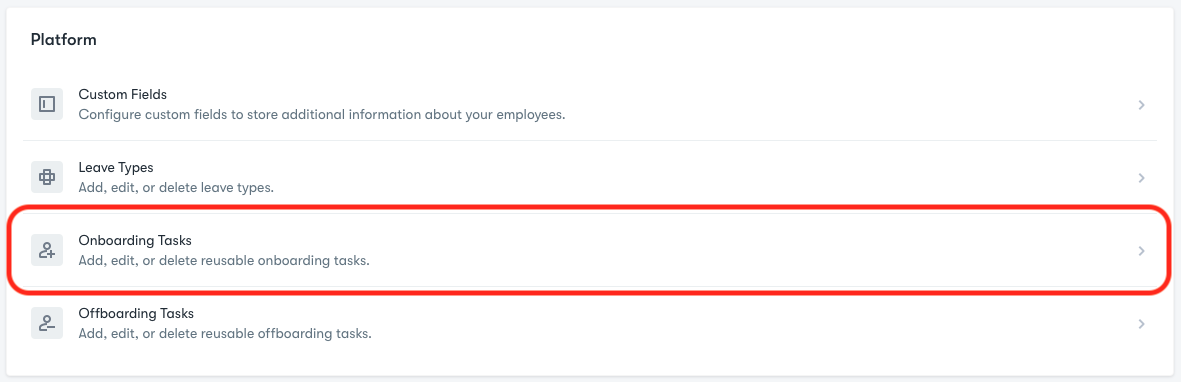 Platform Submenu located in Company Settings.  Onboarding Tasks option highlighted.