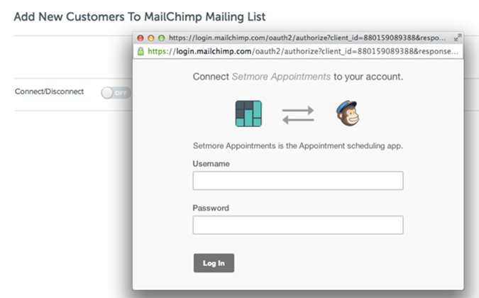 Connecting Setmore account and Mailchimp