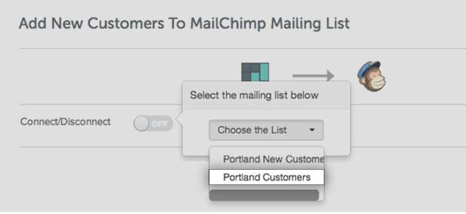 Choosing the target list on Mailchimp