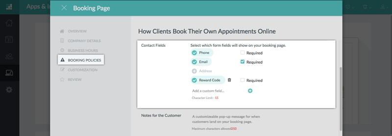 Determining the Contact Fields on the Booking Page
