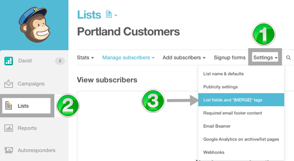 Viewing the fields and tags of your Mailchimp list