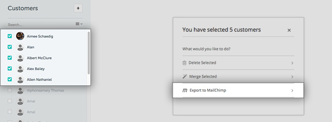 Exporting existing customers to Mailchimp