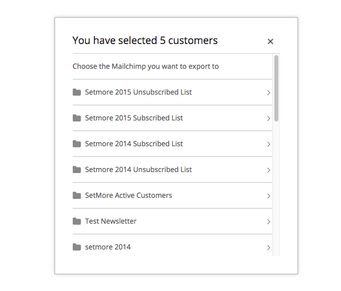 Choosing Mailchimp list to export Setmore contacts to
