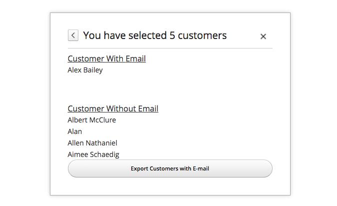 Contact Export status pop-up