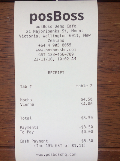 posBoss Printer Receipt