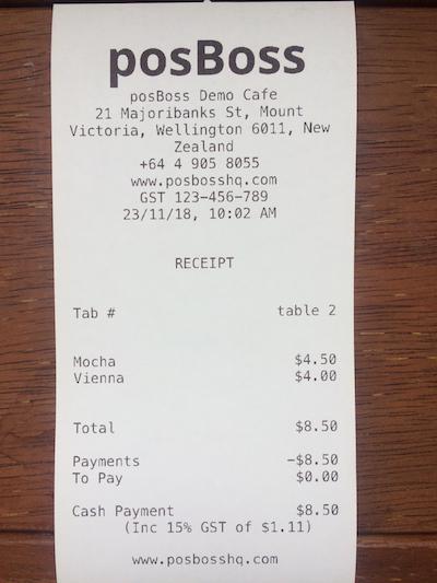 posBoss Printer Receipt