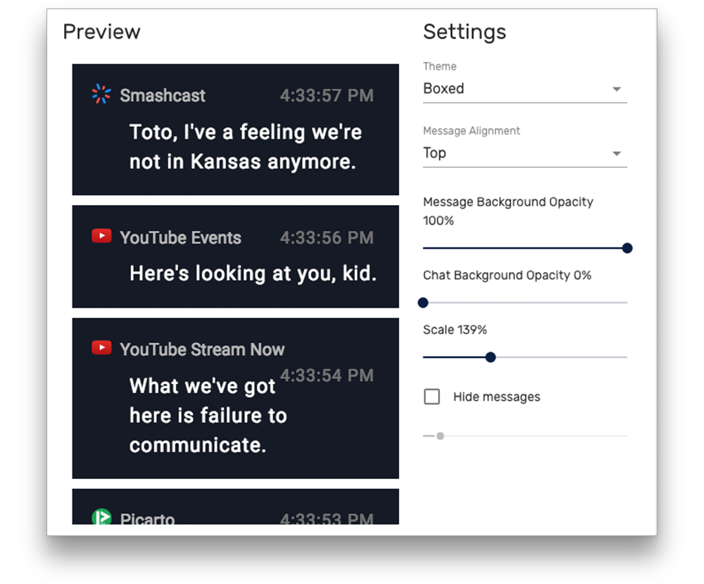 Restream Chat settings page