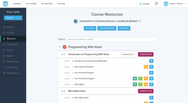 Page showing Course Resources heading and assignments below