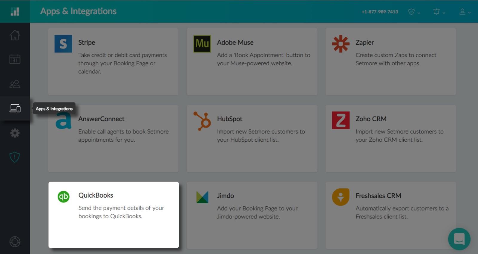 The QuickBooks integration card under Apps & Integrations