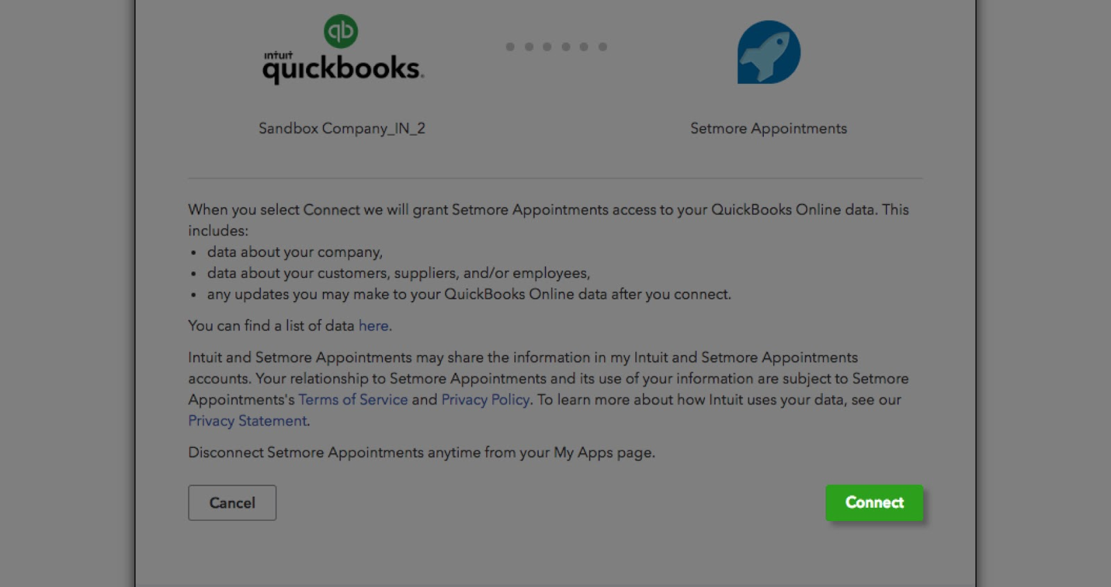 Connecting the Setmore and QuickBooks account