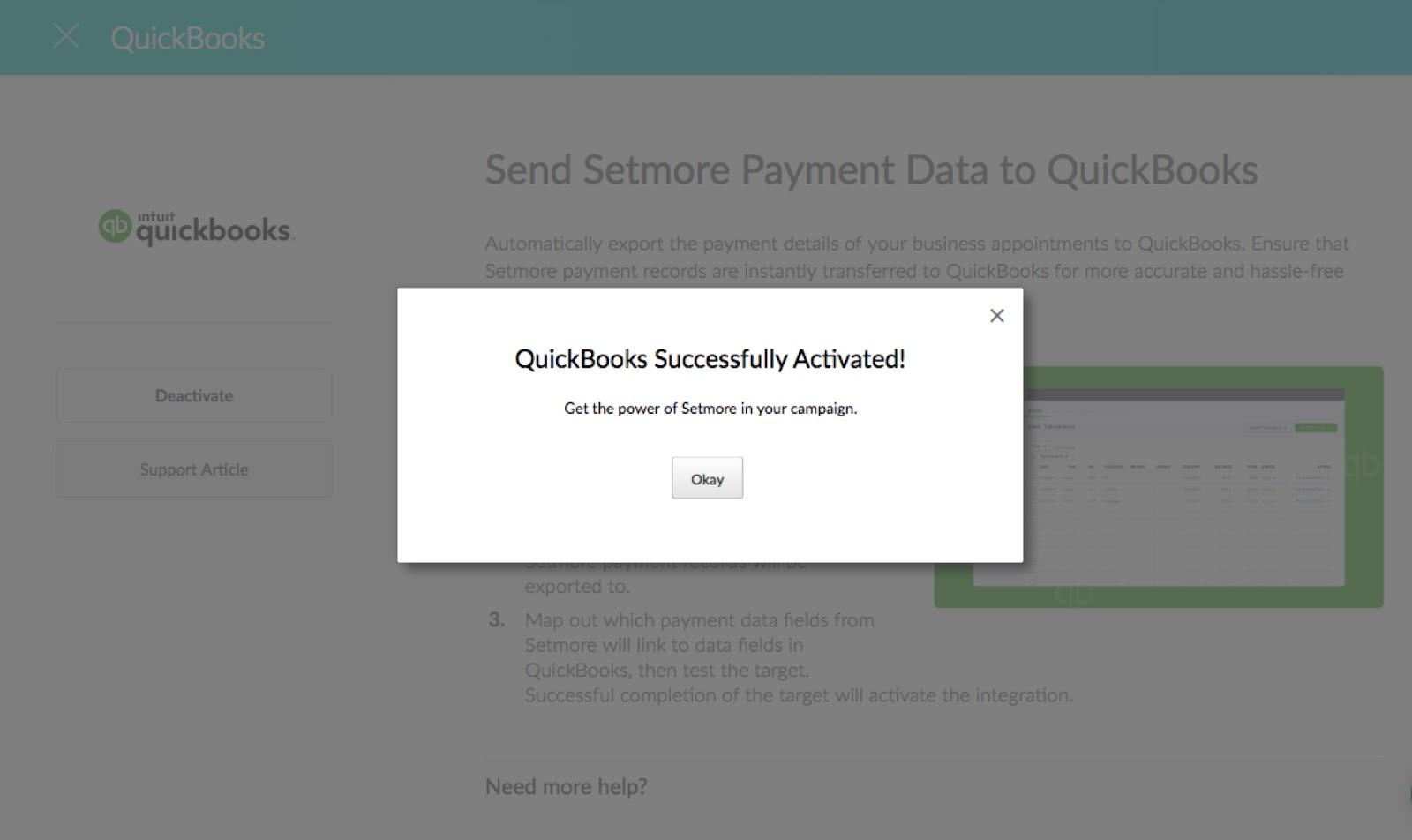 Setmore-QuickBooks Integration activation pop-up message