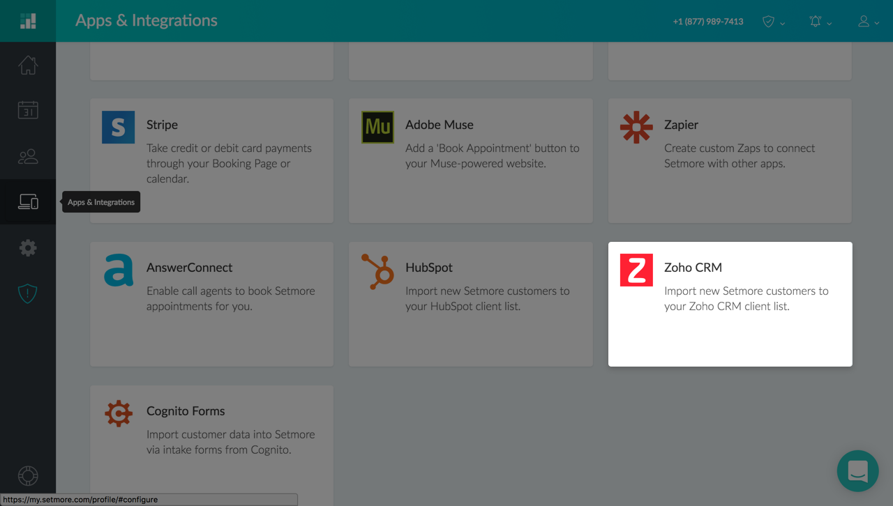 The Zoho Integration card under Apps & Integrations