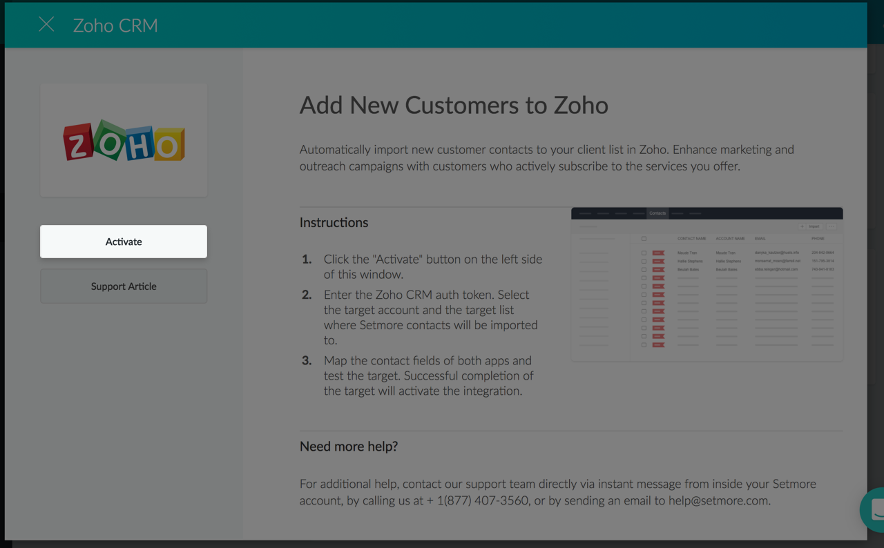 Activating the Setmore-Zoho integration