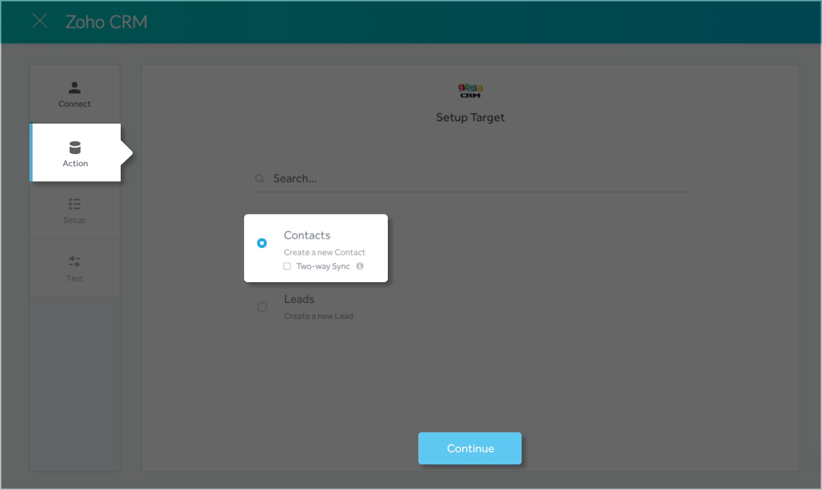 Specifying the Action that takes place in Zoho CRM