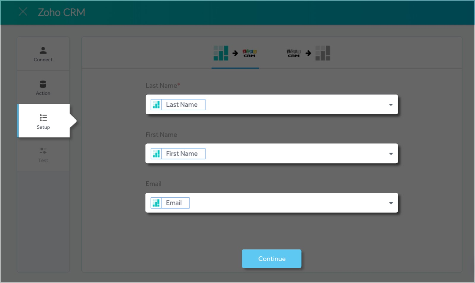 Mapping the field for the Setmore-Zoho two-way integration