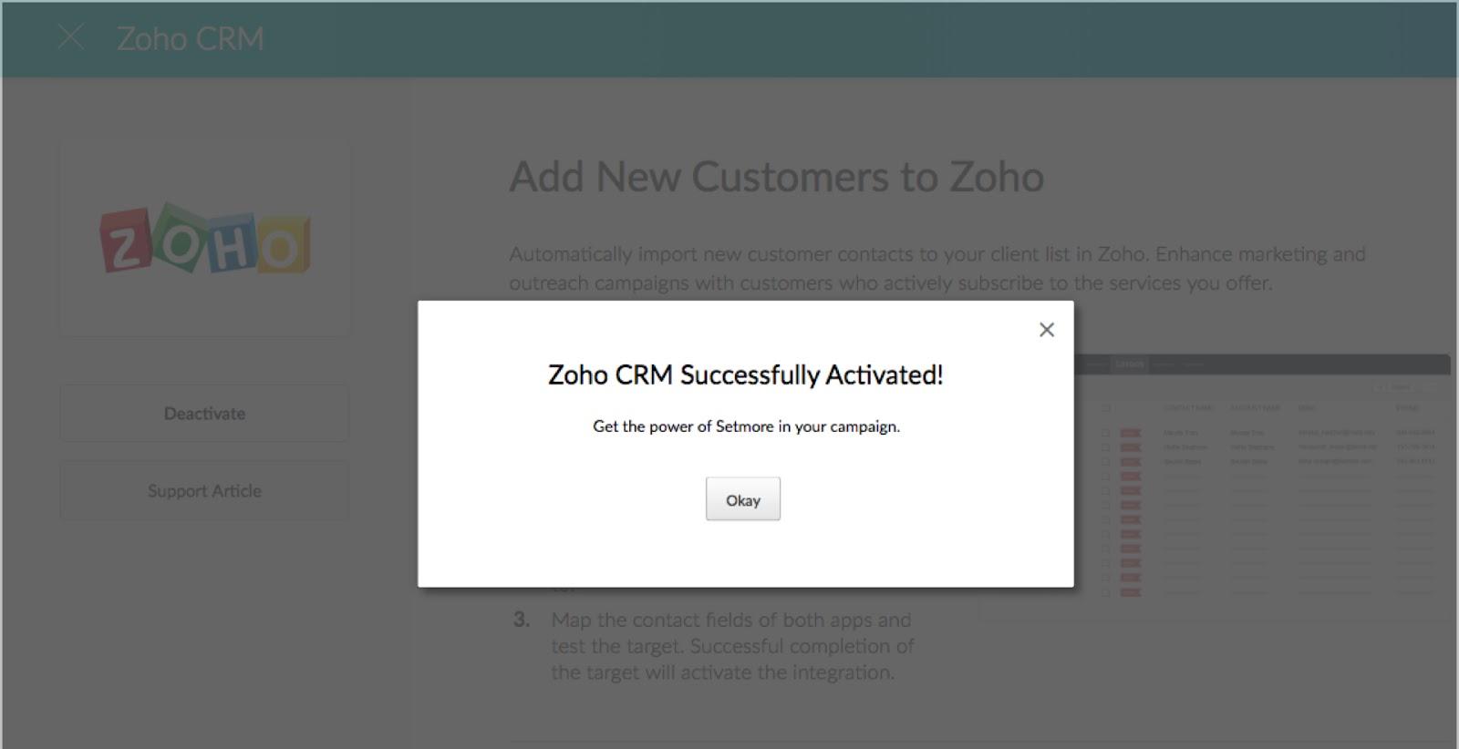 The Setmore-Zoho CRM integration success pop-up message