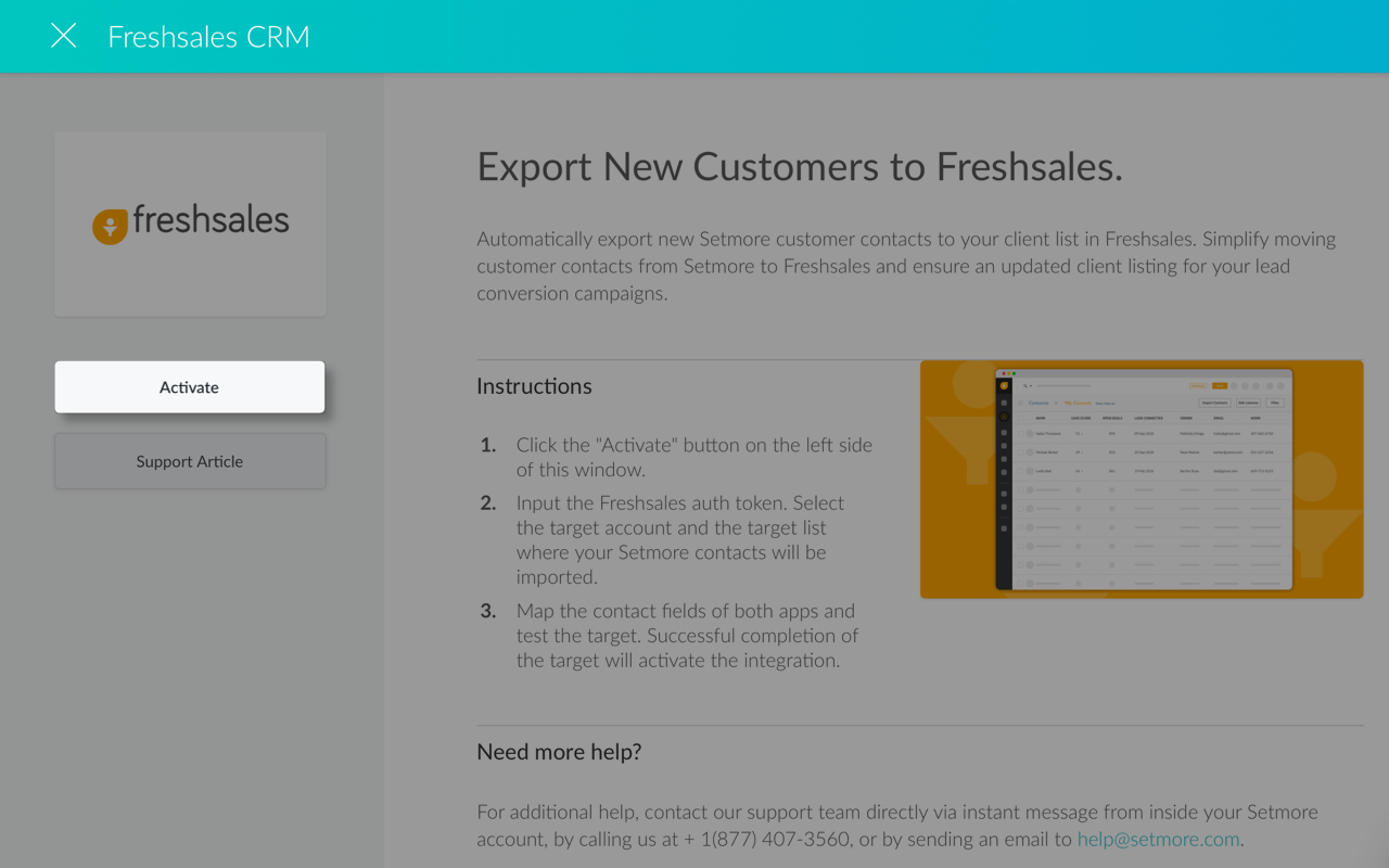 The Freshsales CRM Integration card details