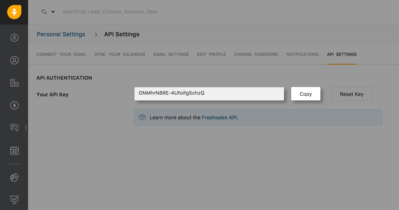 Inputting the Setmore API key in Freshsales