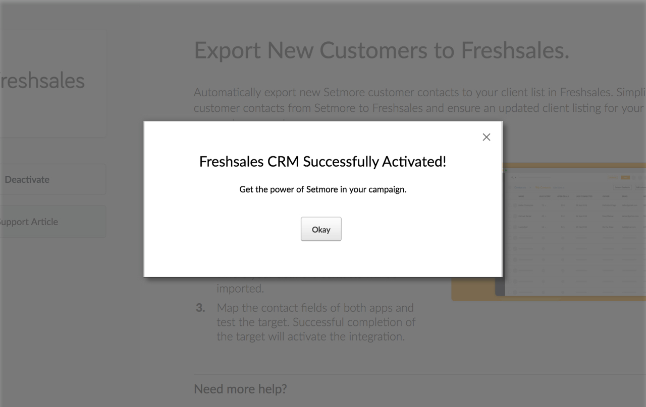 The activation confirm pop up for the Setmore Freshsales integration