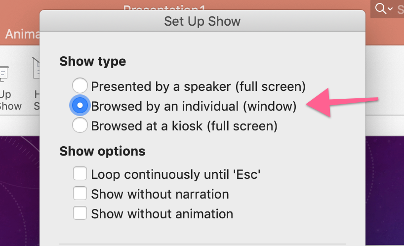 Browsed by an inidivdual (window) option within set up show