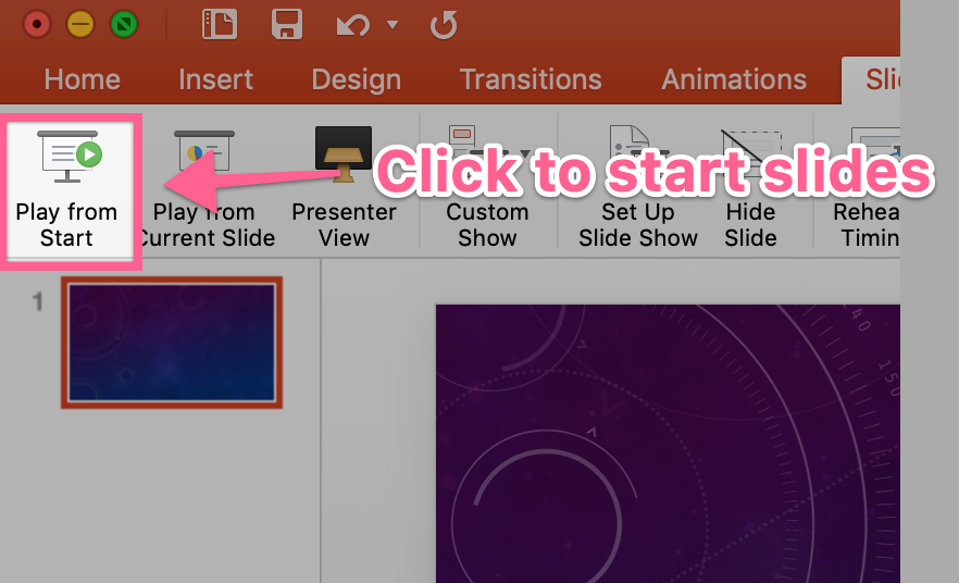 Play from start option within PowerPoint
