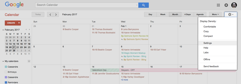 Opening the Settings tab on Google Calendar