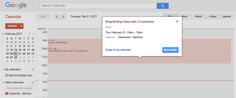 Setmore appointments on Google Calendar
