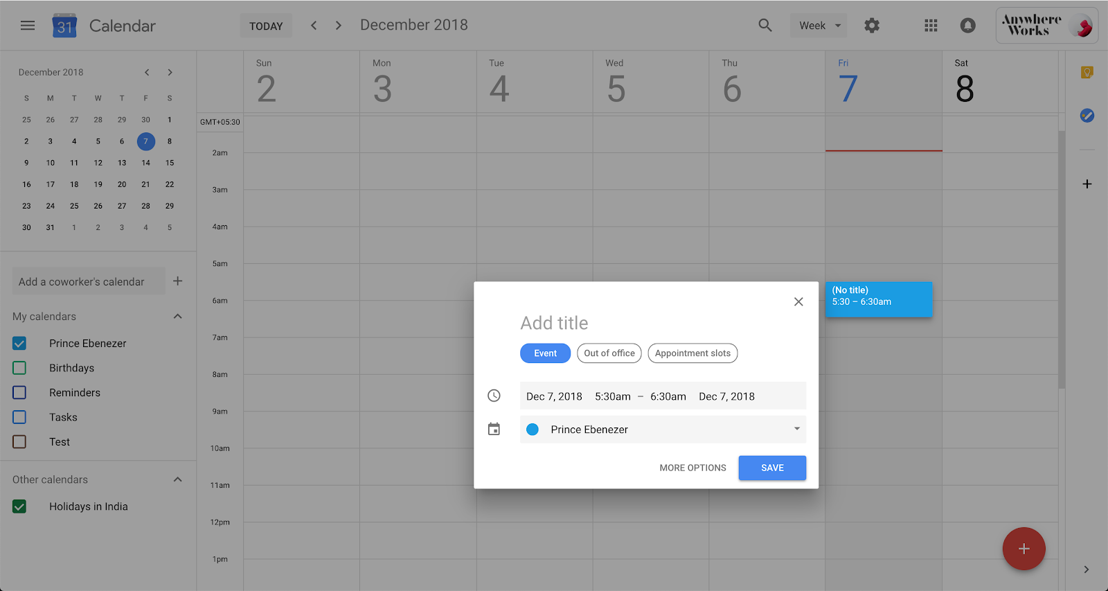Creating appointment slots on Google Calendar