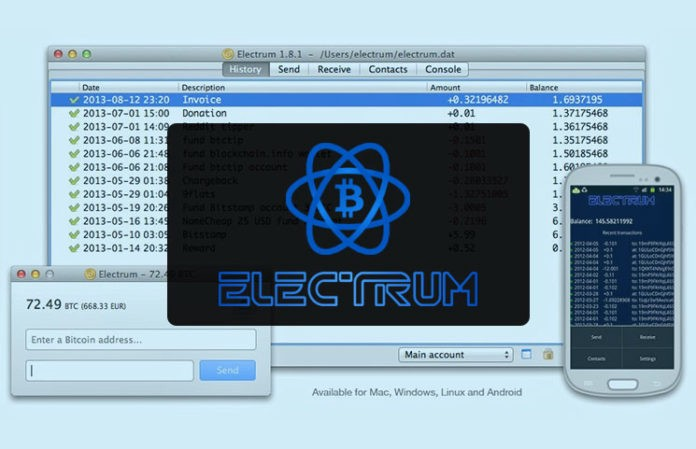 Image of Electrum Bitcoin Wallet on different devices