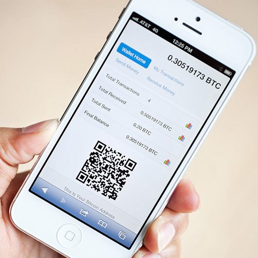 Image of a Bitcoin wallet on an Iphone