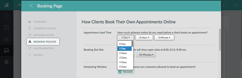 Determining the Appointment Lead Time on the web app
