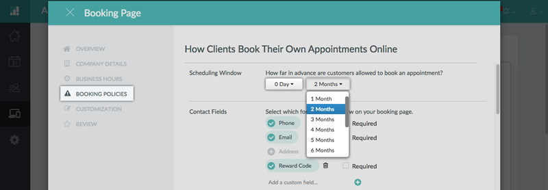 Setting a scheduling window for the Booking Page