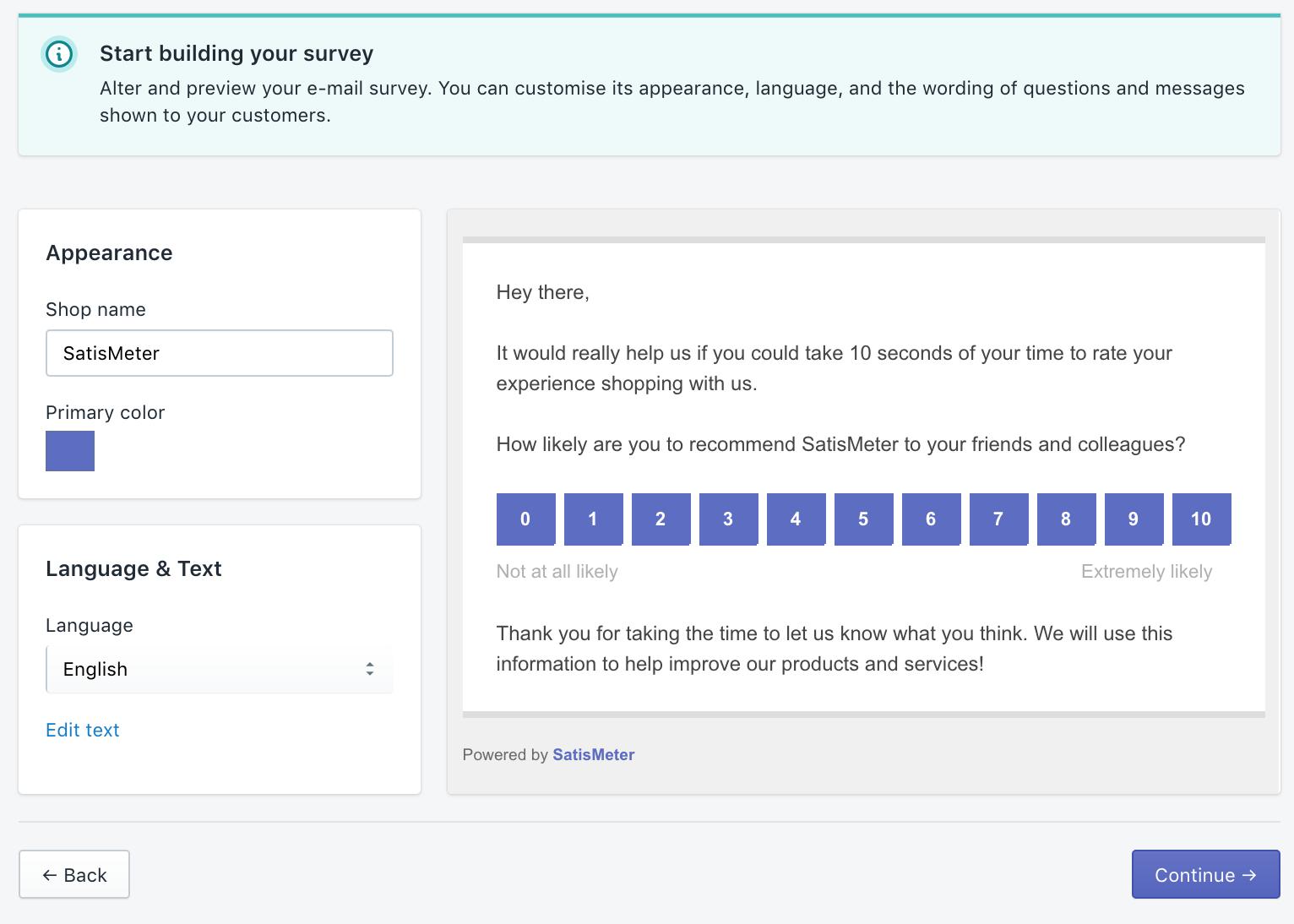 SatisMeter - Shopify integration appearance