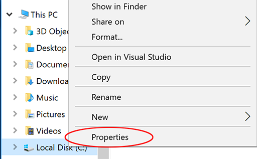 Local disk space properties