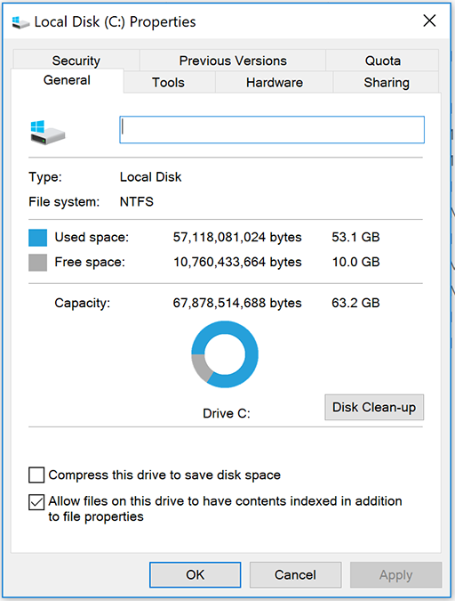 Local disk space showing available space