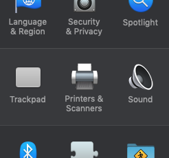 A screenshot showing System Preferences. You will need to click the option for 'Printers and Scanners.'