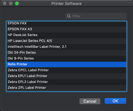 A screenshot showing the list of printer software that appears after clicking 'Select Software.' You will need to scroll down this list and select 'Rollo Printer.'