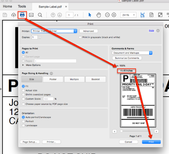 A screenshot showing the Print setting that appear when you attempt to print a test label.