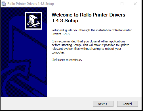 A screenshot showing the installation wizard for installing the Rollo Printer Drivers.