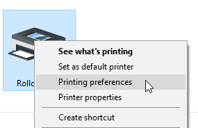 A screenshot showing the ROLLO printer as it appears in the 'Devices and Printers' section of Control Panel. If you right click the icon, a drop down menu appears. You will need to click the option that says 'Printing preferences.'