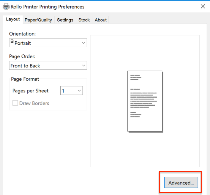 A screenshot showing the Printing Preferences pop up. In the bottom right corner of this pop up window, you will need to click a button that says 'Advanced...'