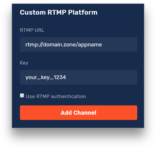 Custom RTMP options