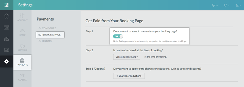 Enabling Payments on the Setmore Booking Page through the web app