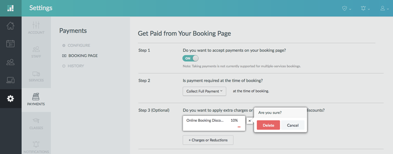 Setting up to collect payments from the Booking Page