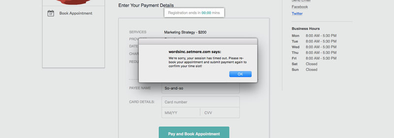 Payment window elapsed message