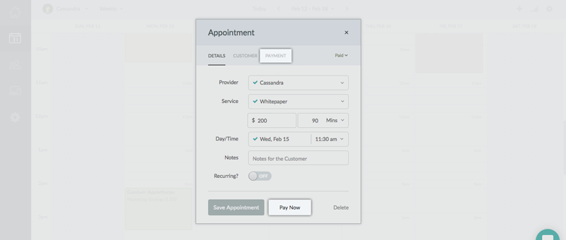Clicking the Payment Tab for an appointment